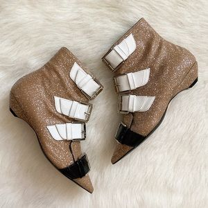 NWOT*No. 21 Strapped Glitter Booties, Size 5.5